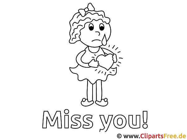 Trauriges Mädchen Herz Vermisse dich Ausmalbild