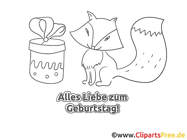 Fuchs Geschenk Geburtstag Ausmalbild-Grusskarte