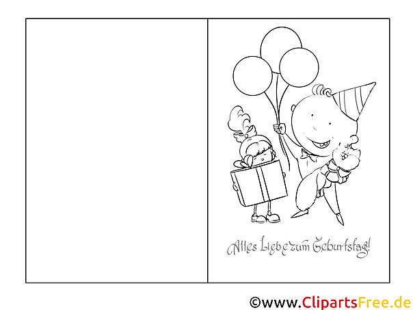 Charmant Geburtstagskarten Für Kinder Zum Ausmalen Ideen - Framing ...