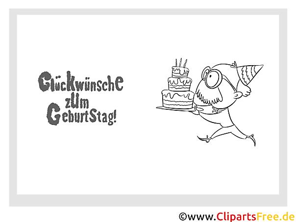 Kuchen Glückwunschkarte zum Drucken und Ausmalen
