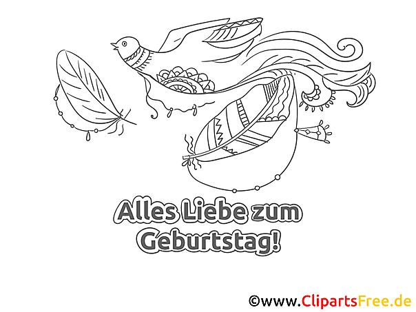 Vogel Ausmalbild - Geburtstag Bilder kostenlos