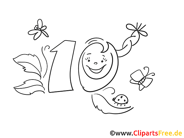 Zehn Käfer Geburtstag Ausmalbild gratis