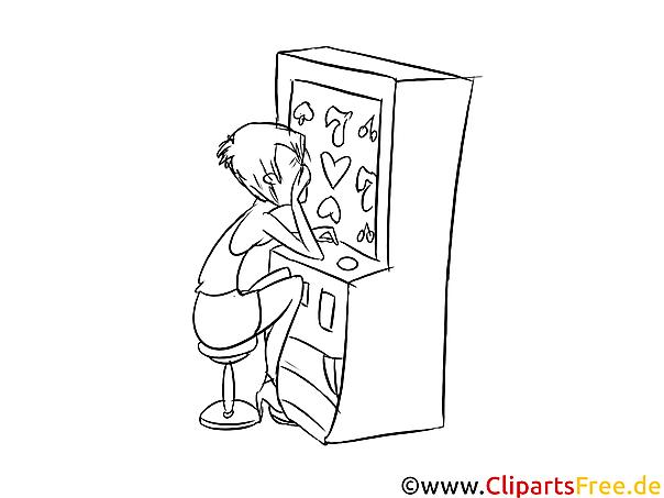 Am Spielautomat Bild, Illustration schwarz-weiß zum Ausmalen
