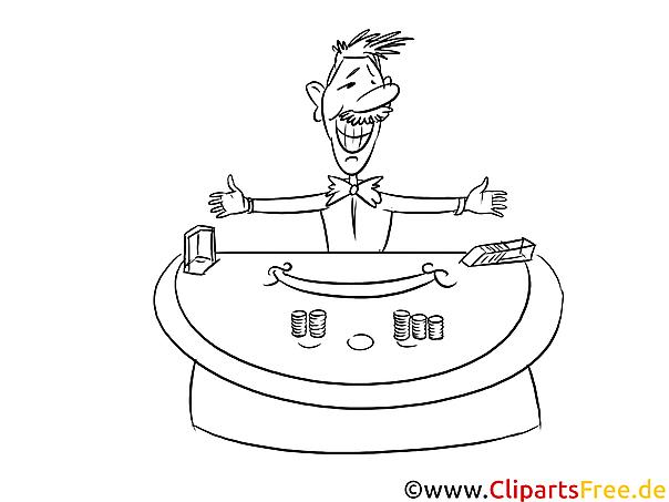 Kasino Bild , Illustration schwarz-weiß zum Ausmalen