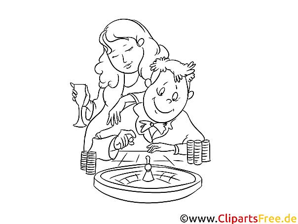 Paar Spielt Im Casino Ausmalbild