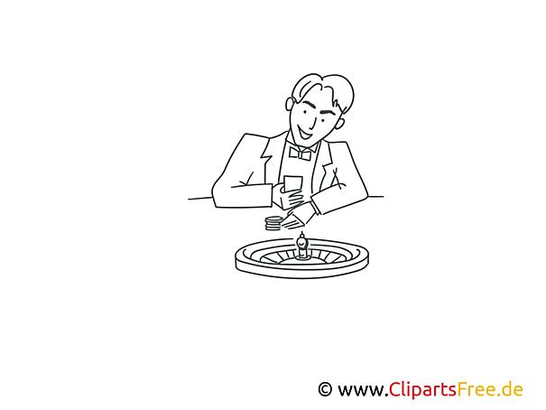 Roulette spielen Bild , Illustration schwarz-weiß zum Ausmalen