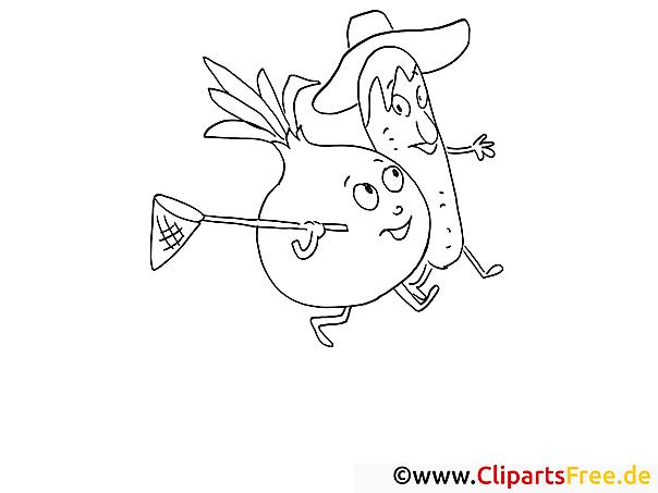 Cartoon-Gemüse Malvorlage gratis zum Herunterladen und Ausmalen