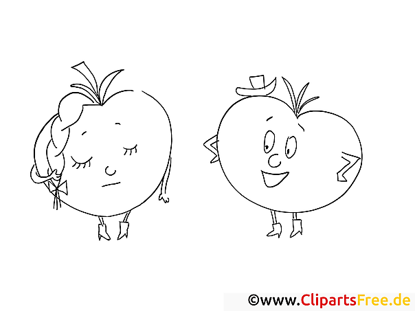 Cartoonäpfel Malvorlage gratis zum Herunterladen und Ausmalen