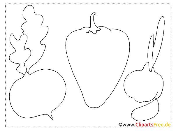 Gemüse Malvorlagen einfach für kleine Bilder