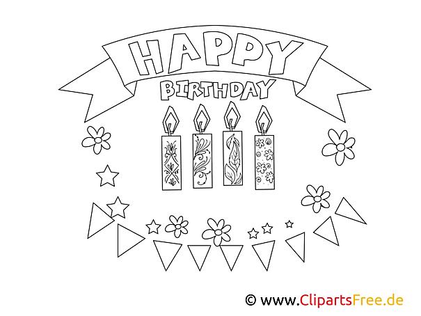 Раскраски С днем рождения - Скачать и распечатать
