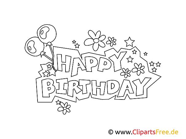Buchstaben Happy Birthday zum Drucken und Ausmalen
