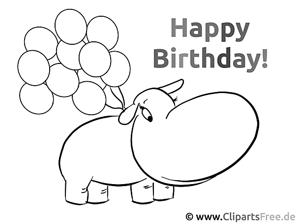 Color the picture for kids - Happy Birthday