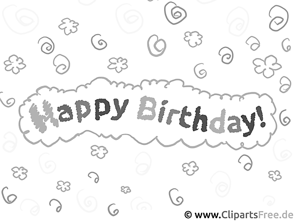 Coloring picture for kids happy birthday