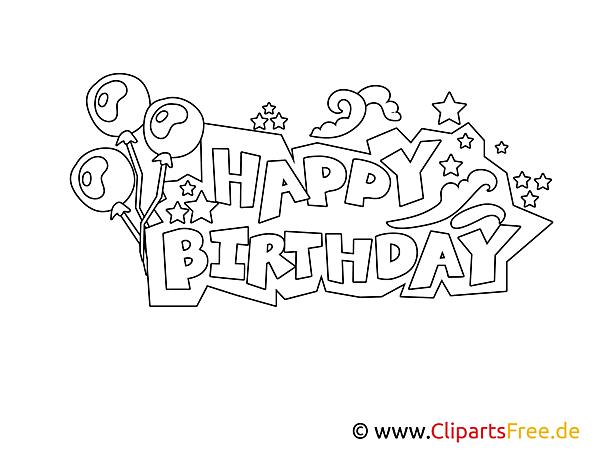 Happy Birthday Buchstaben zum Drucken, Ausmalen