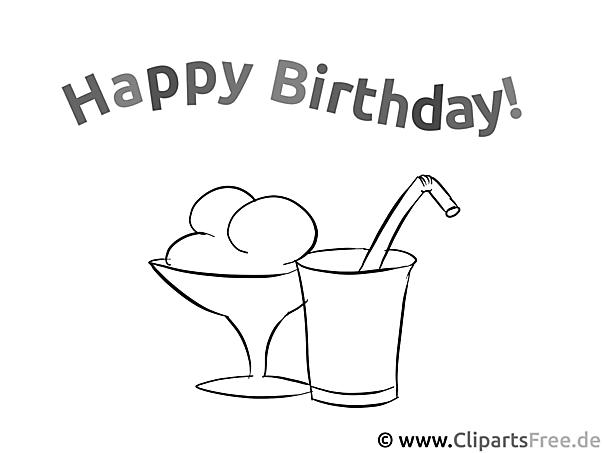 Happy Birthday Eis und Cocktail Malvorlage