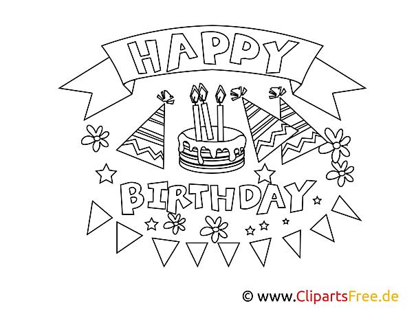 Happy Birthday Malvorlage, Ausmalbild