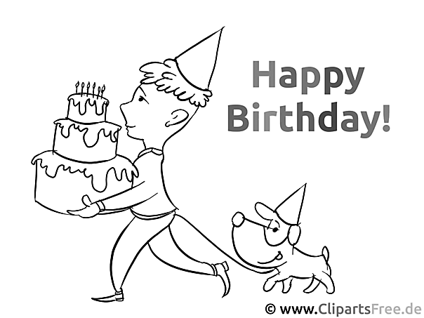 Picture to color for kids happy birthday