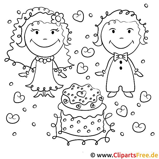 Ausmalbild Hochzeit Brautpaar Und Torte