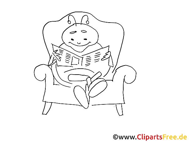Käfer liesst Zeitung Malvorlage