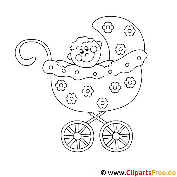 Baby im Kinderwagen Ausmalbild