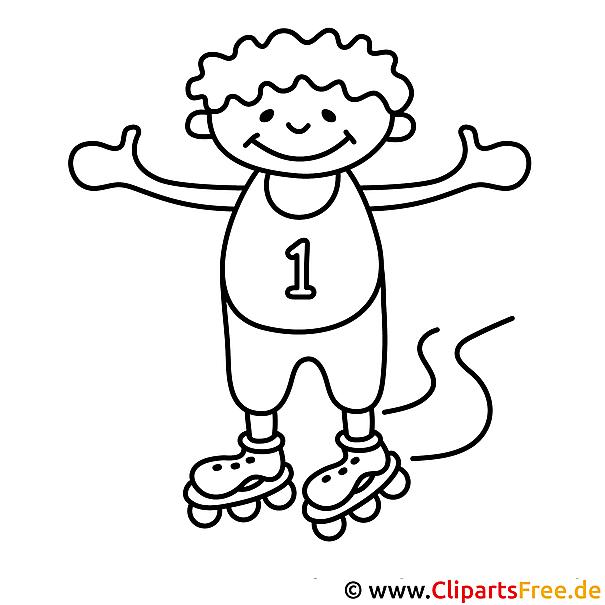 Kind auf Rollschuhe Malvorlage