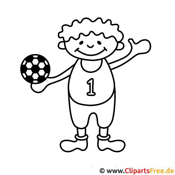 Kind spielt Fussball Ausmalbild zum Ausmalen