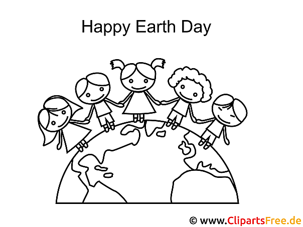 Happy Earth Day Colouring Page