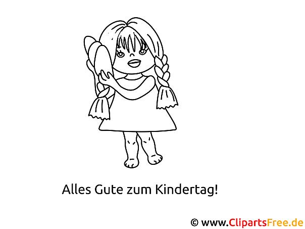 Kleines Mädchen Ausmalbild - Malvorlagen für Kinder