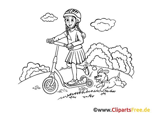 Kostenlose Malvorlage Mädchen im Fahrradhelm auf Roller