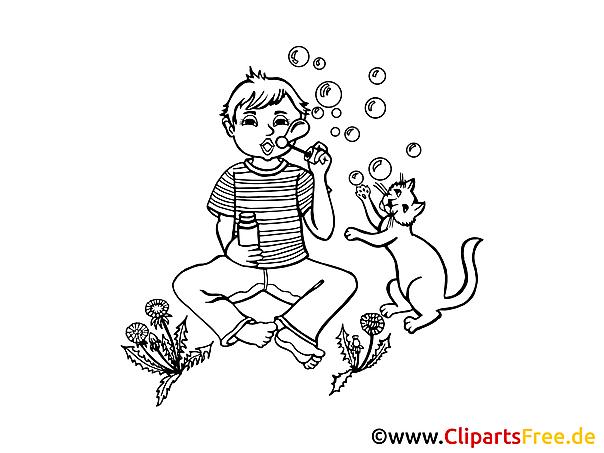Kostenlose Malvorlage Seifenblasen, Junge, Kind, Kater