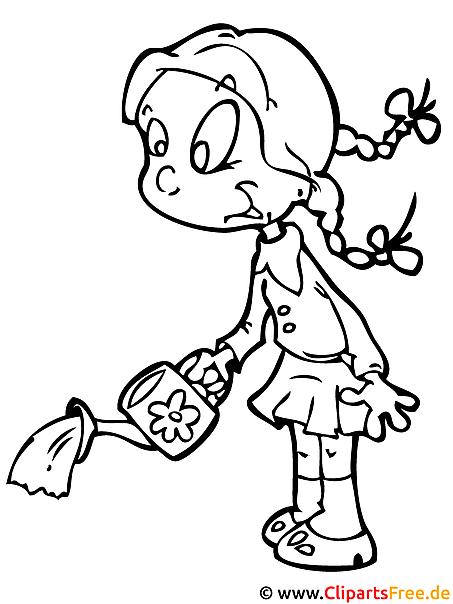 Mädchen im Kindergarten Malvorlage