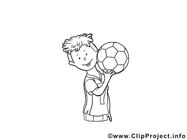 Malvorlage Kind spielt Fussball