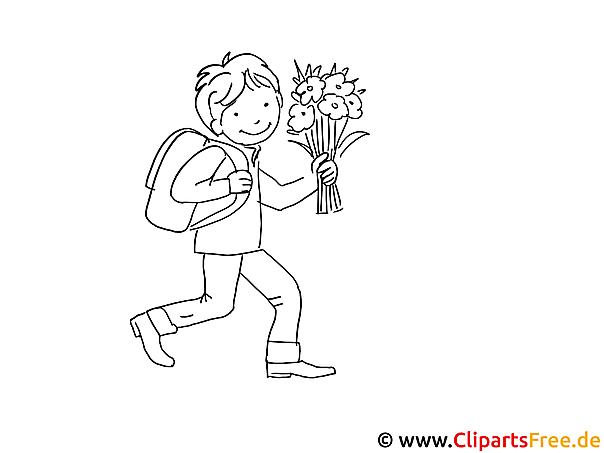 Schüler mit Blumenstrauss Malvorlage