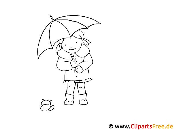 Ausmalbilder für Kinder - Mädchen unter dem Regenschirm