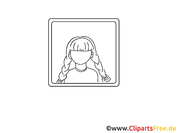 Girl Icon black and white as coloring sheet
