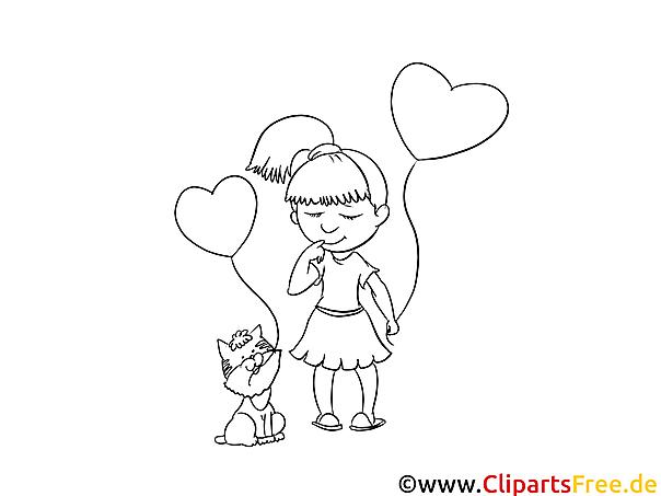 Mädchen und Katze mit Luftballons Bild zum Ausmalen und Drucken