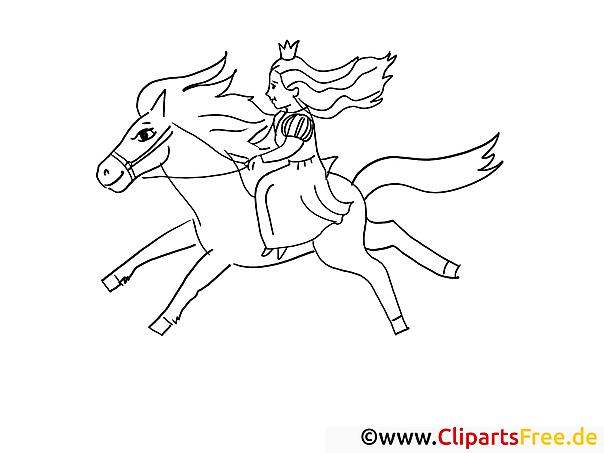 Ausmalbild Prinzessin reitet auf dem Pferd kostenlos herunterladen