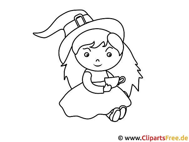 Hexe trinkt Tee Bild-Malvorlage zum Drucken und Ausmalen