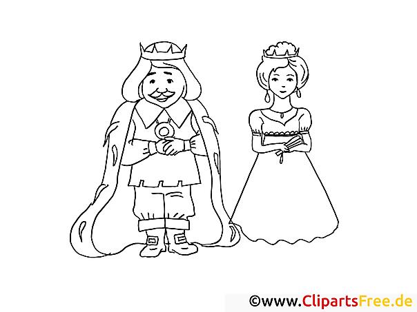 Malvorlagen und Ausmalbilder von Märchen - König und Königin