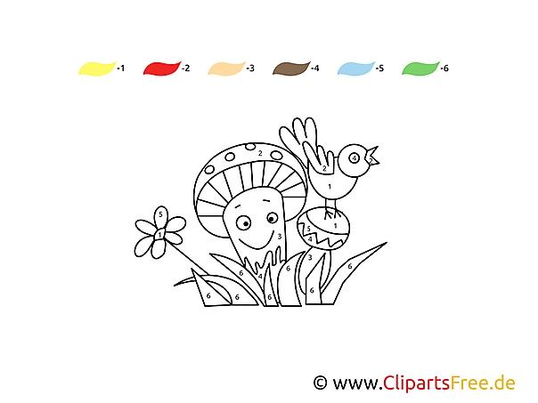 Kolorowanka dla numerach grzyb