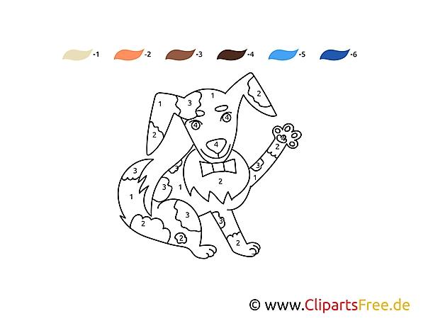 Numery kolorowanka pies