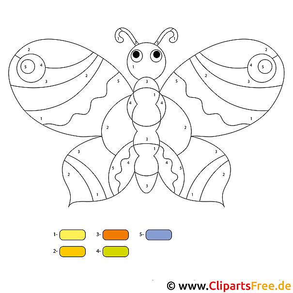 Schmetterling malen nach zahlen - Menschen malen lernen kindergarten ...