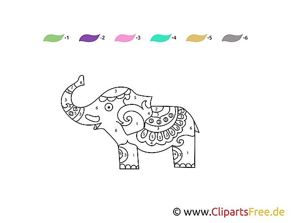 Słoń Malowanie po Numerach dla Dzieci
