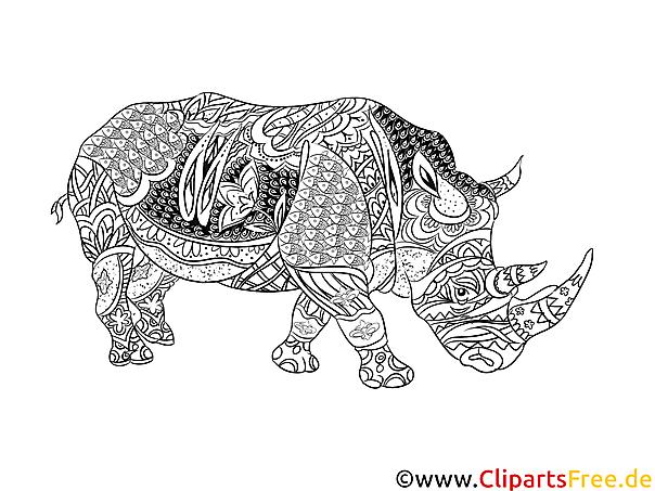 Ausmalbilder für Erwachsene zum Ausdrucken Nashorn