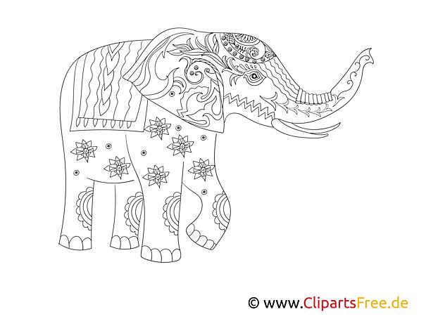 Elefant Ausmalbilfd kompliziert für Erwachsene