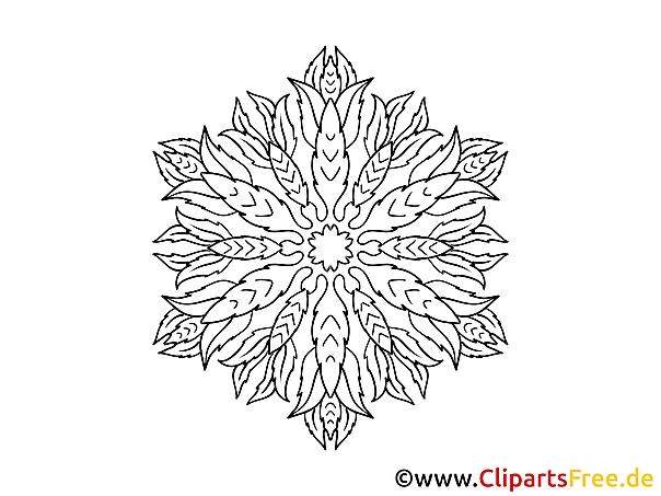 Blatt Muster Mandala-Ausmalbild gratis