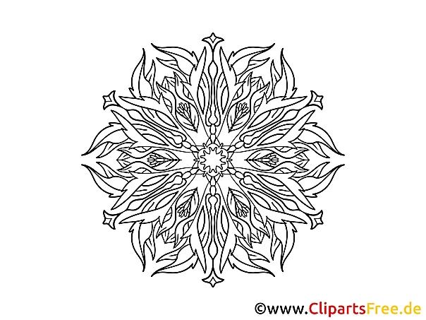 Blume Muster  Mandala-Vorlage zum Drucken und Malen