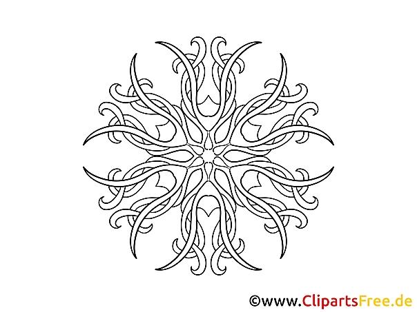 Muster Blüte Mandala Malvorlage zum Ausmalen
