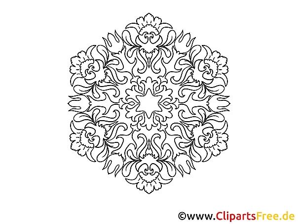 Skizze Schneeflocke Mandala-Ausmalbild gratis