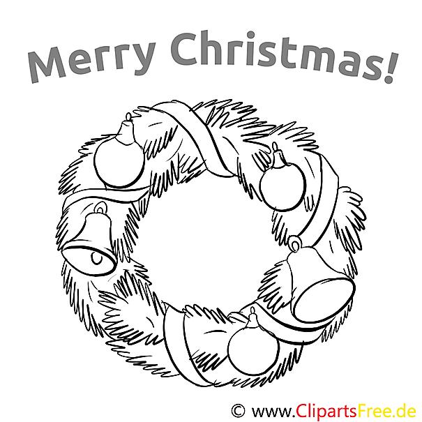 girlande glocke merry christmas colourings ausmalbilder